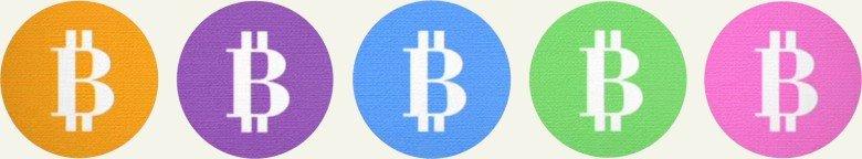 monedas coloreadas + bitcoins coloreados