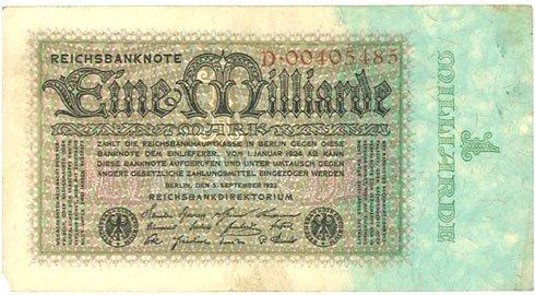 Alemania – mil millones de marcos, 1923