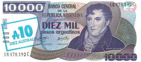 Argentina – 10.000 pesos argentinos, 1985