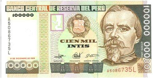 Perú – 100,000 intis, 1989